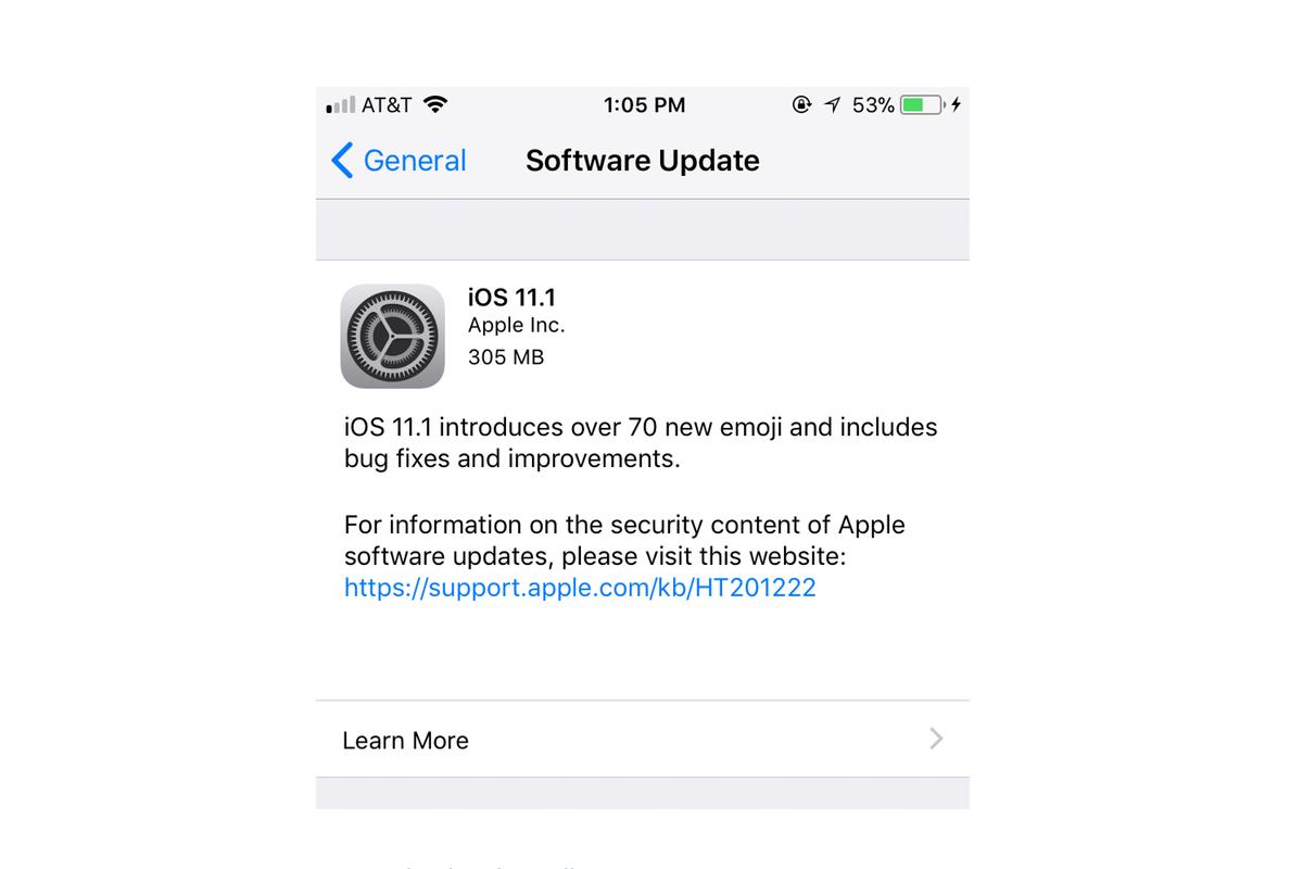 iOS 11.1 changelog
